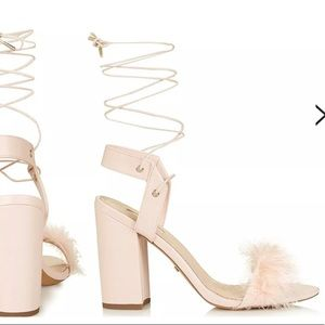 Pink Topshop Ruffle Lace Up Feather Sandals